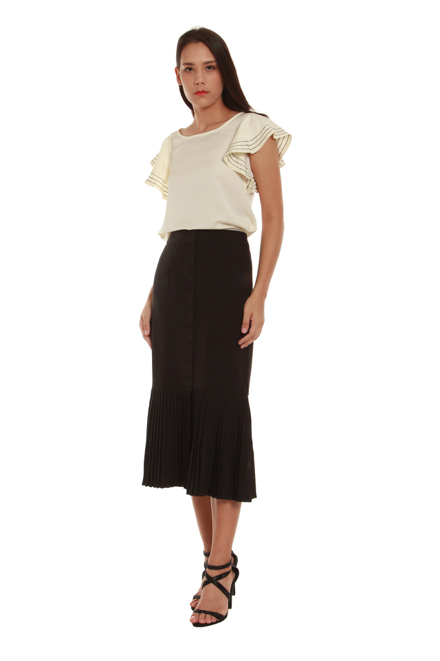 Lauryn Pleated Trumpet Skirt