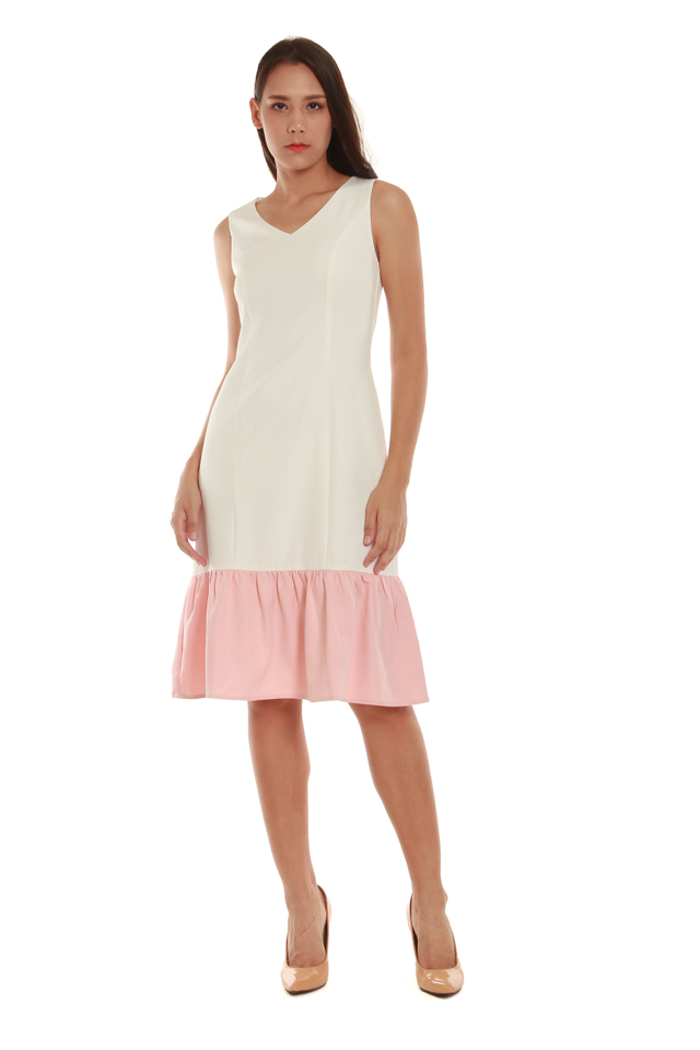 Cassandra Modern Drop Hem Midi Dress in White/Pink