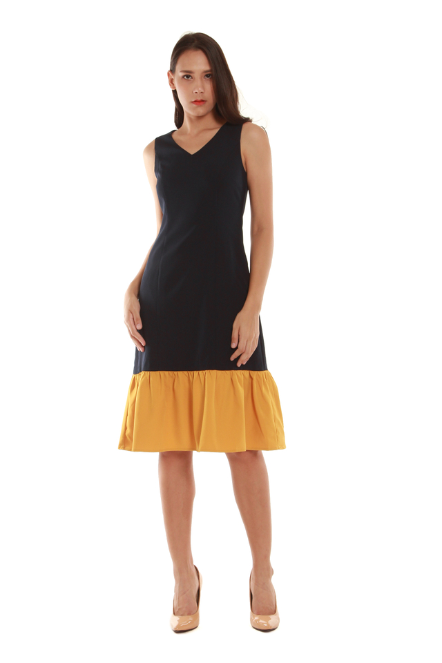 Cassandra Modern Drop Hem Midi Dress in Dark Navy/Mustard