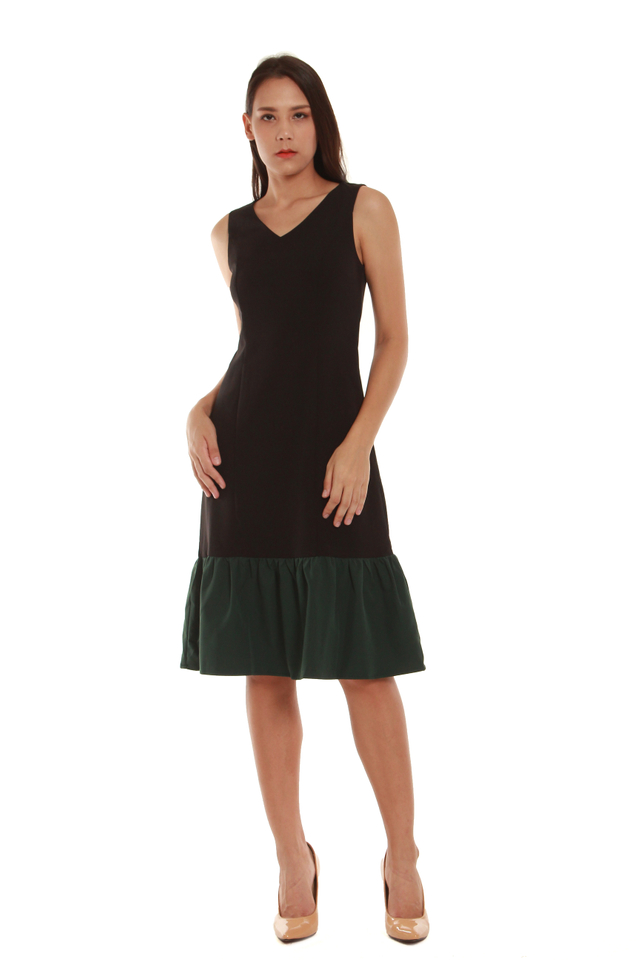 Cassandra Modern Drop Hem Midi Dress in Black/Forest Green
