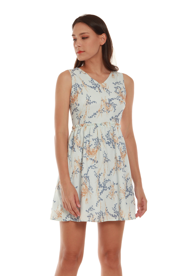 Scarlett High-Waited Floral Mini Dress in Blue