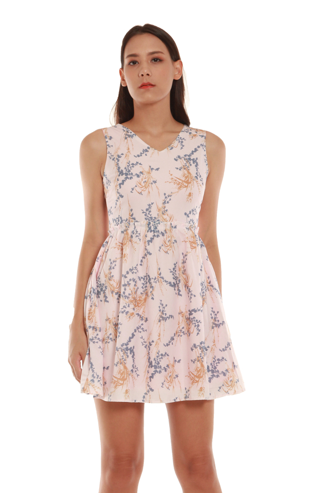 Scarlett High-Waited Floral Mini Dress in Pink