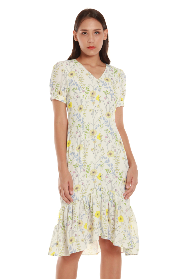 Sabrina Vintage-Style Floral Dress in White