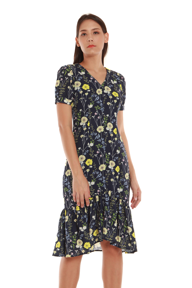 Sabrina Vintage-Style Floral Dress in Navy Blue