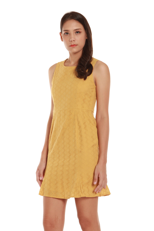 Sierra Eyelet Mini Dress in Mustard