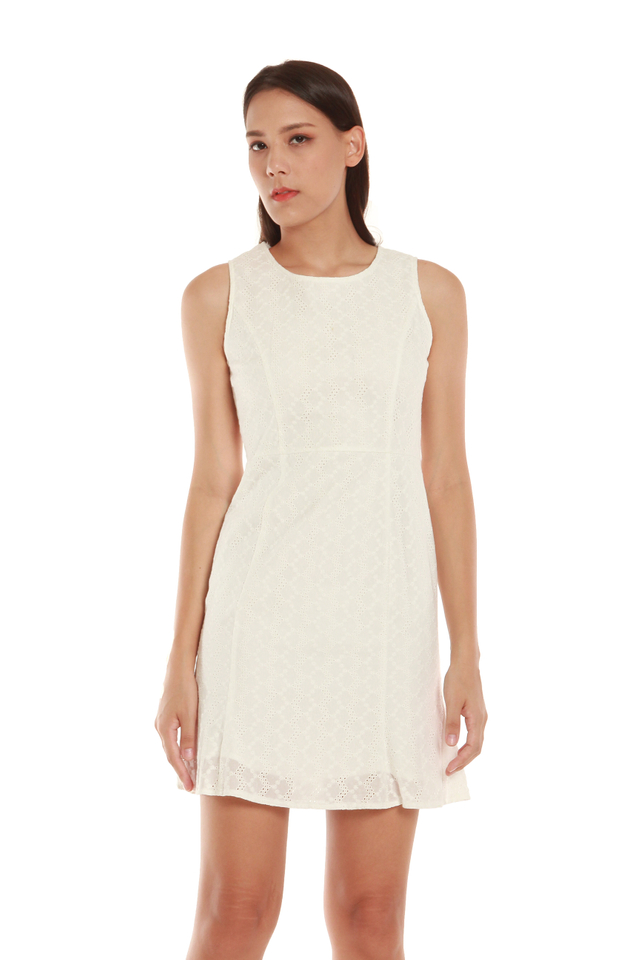 Sierra Eyelet Mini Dress in White