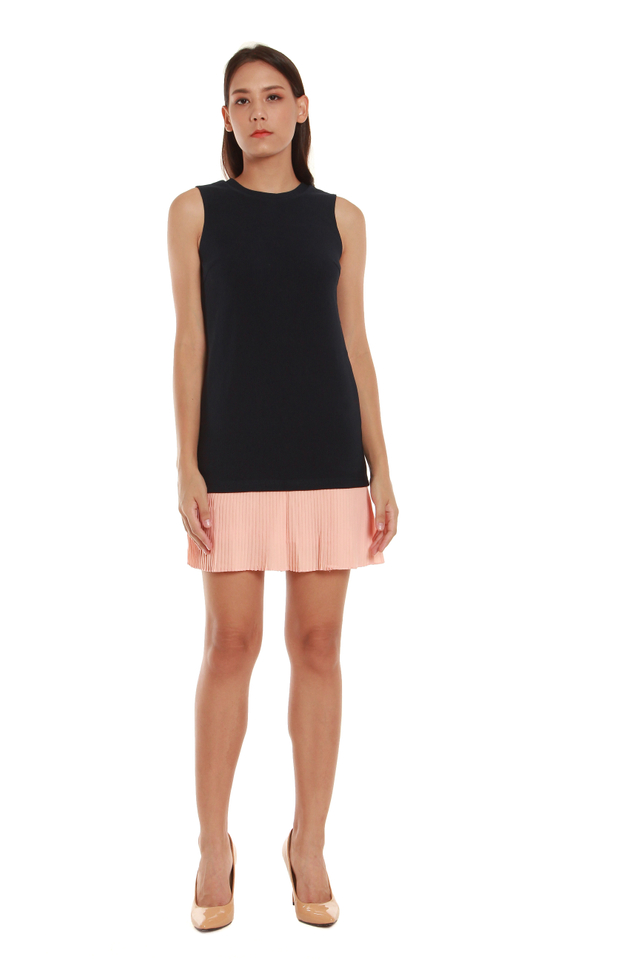 Estelle Sleeveless Colorblock Pleated Hem Dress in Navy/Pink Pleats