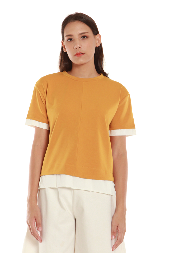 Colette Faux Layered Short Sleeve Top in Mustard