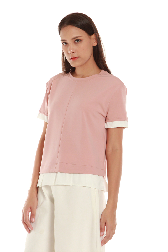 Colette Faux Layered Short Sleeve Top in Pink
