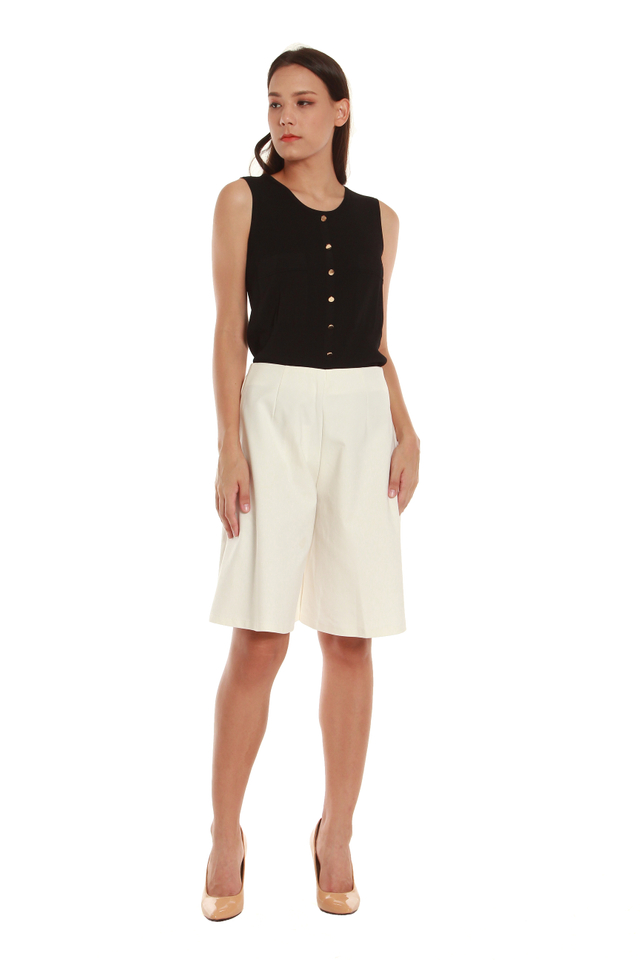Adara A-Line Bermuda Shorts in White