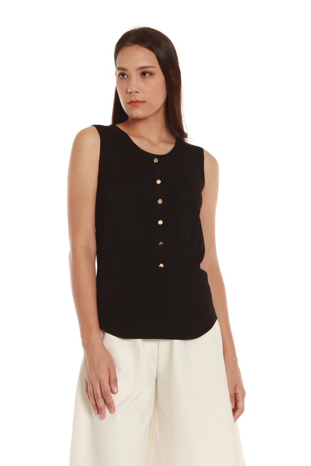 Christa Button Front Tank Blouse in Black