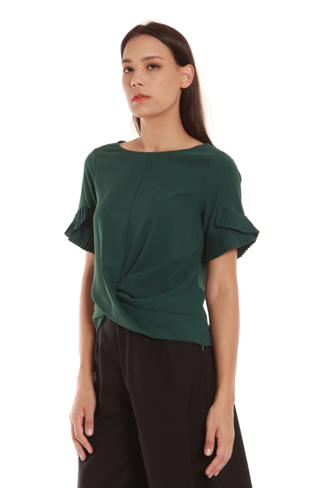 Janey Pleated Sleeve Twist Blouse in Forest Green