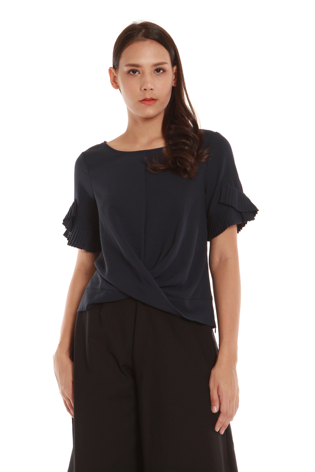Janey Pleated Sleeve Twist Blouse in Blue