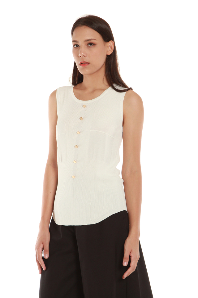 Christa Button Front Tank Blouse in White