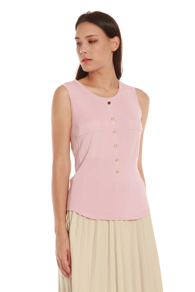 Christa Button Front Tank Blouse in Pink