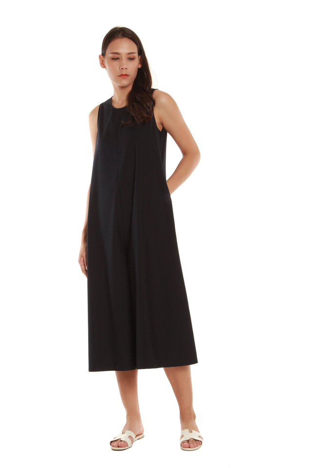Kenna Cropped Jumpsuit With Ribbon Accent
