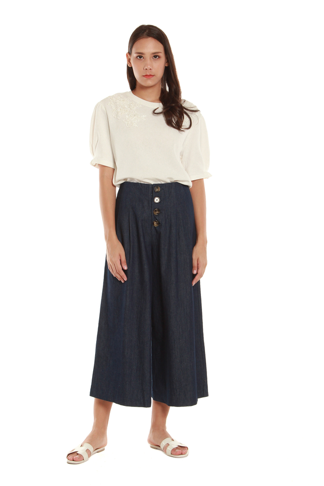 Marie Cropped Palazzo Pants in Denim