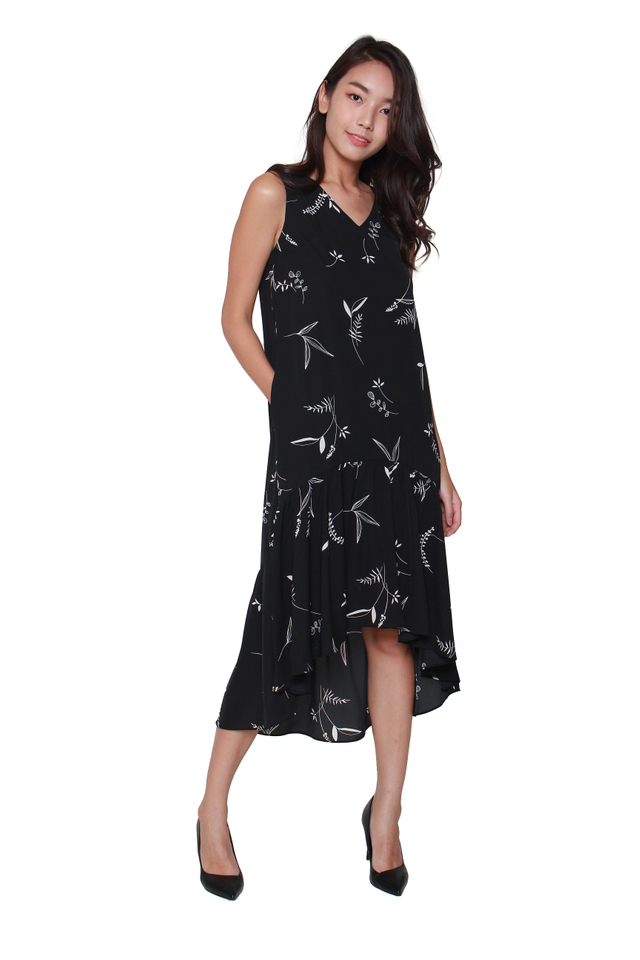 Floretta Asymmetical Hem Sack Dress
