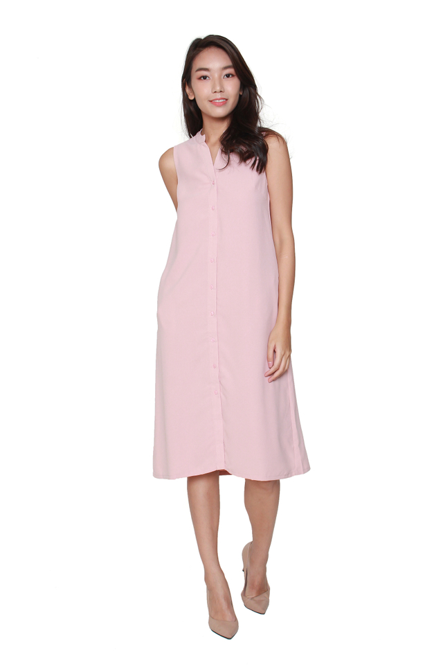 Kiera Sleeveless Shirtdress in Pink