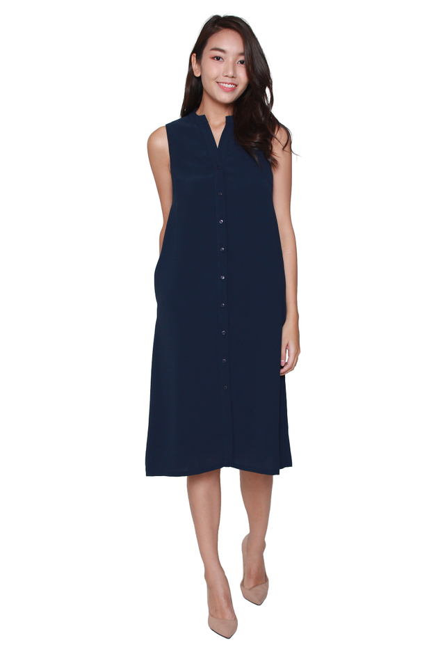 Kiera Sleeveless Shirtdress in Navy Blue