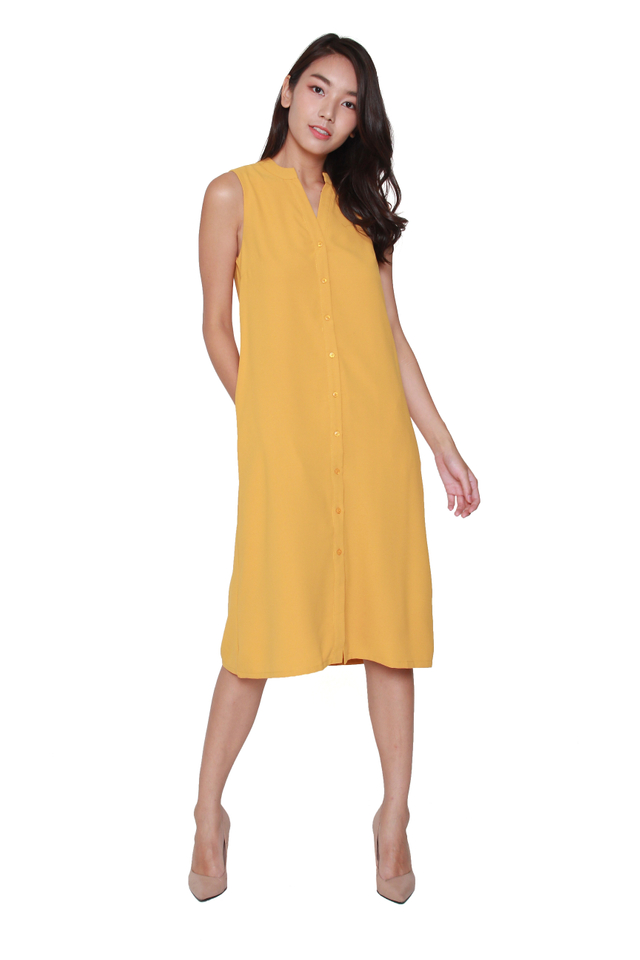 Kiera Sleeveless Shirtdress in Mustard