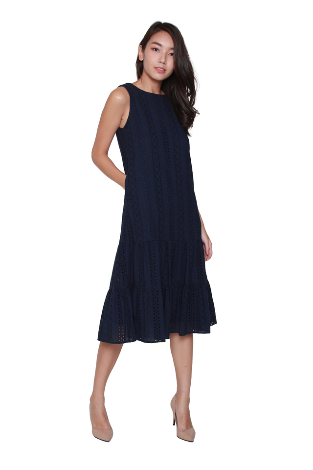 Nyla Eyelet Midi Dress in Navy Blue