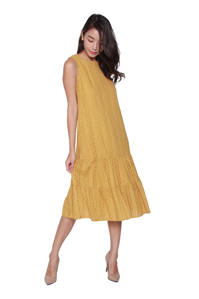Nyla Eyelet Midi Dress in Mustard