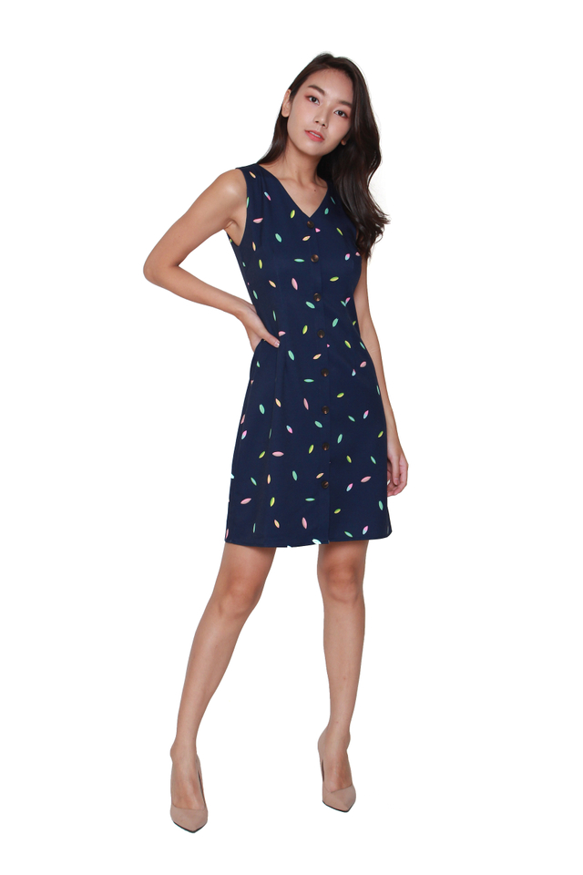 Karis Button-Front Confetti Dress in Navy Blue