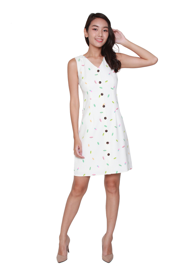 Karis Button-Front Confetti Dress in White