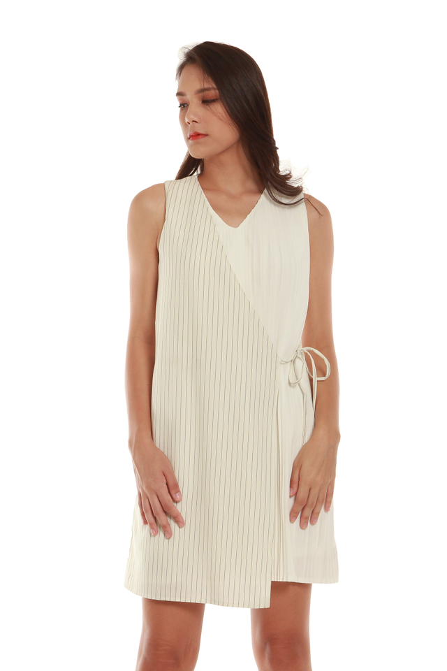 Sleeveless Faux Wrap Dress in White
