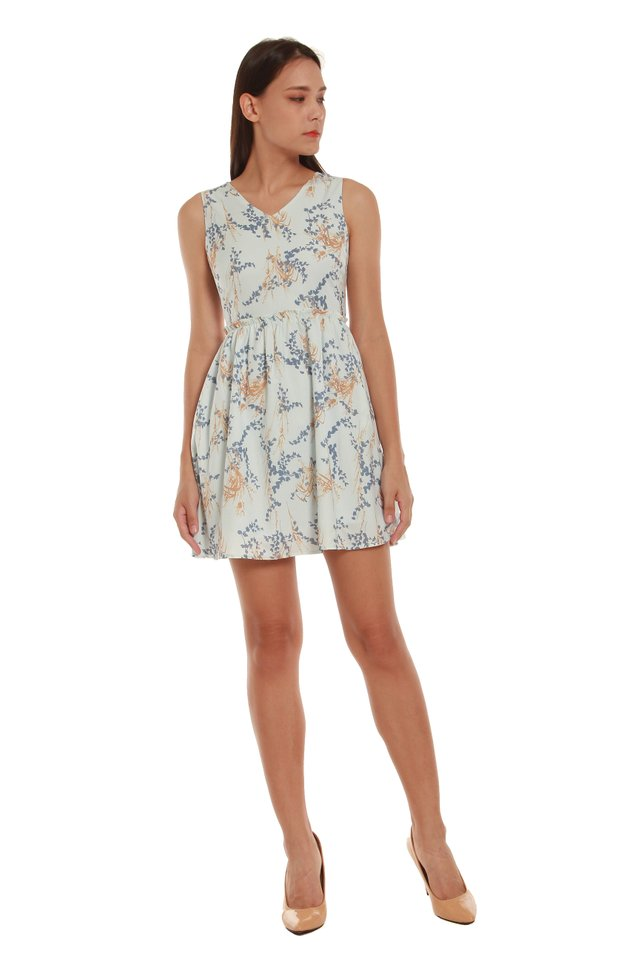 Scarlett High-Waited Floral Mini Dress in Blue