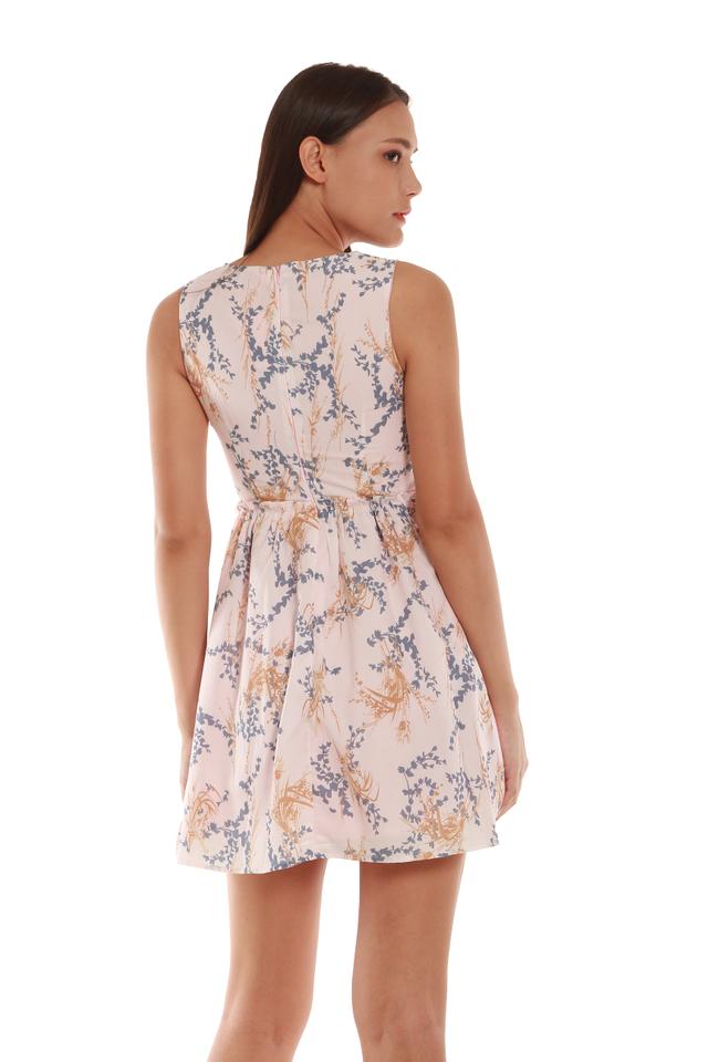 Scarlett High-Waited Floral Mini Dress in Pink