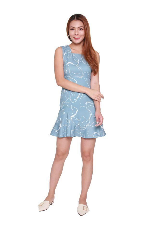 Karissa Tank Ruffle Dress in Blue