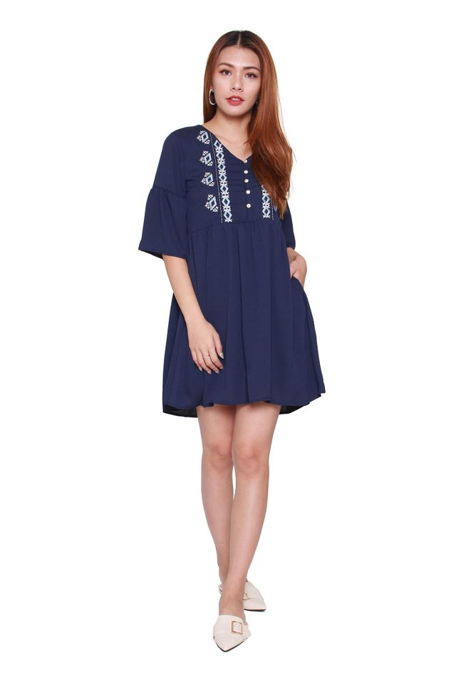 Jady Bohemian Babydoll Dress in Navy Blue