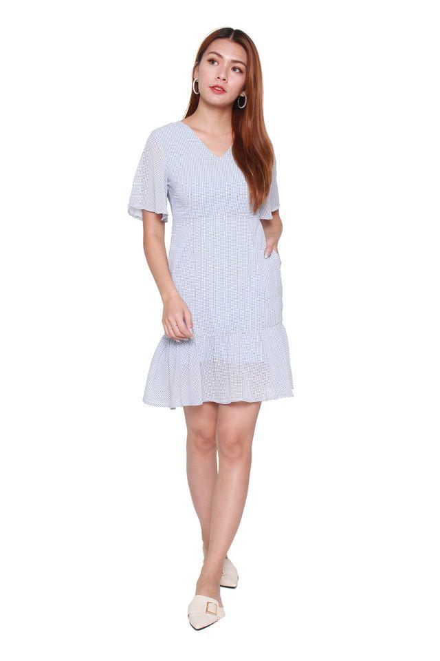 Blysse Fitted Ruffle Mini Tattersall Check Dress