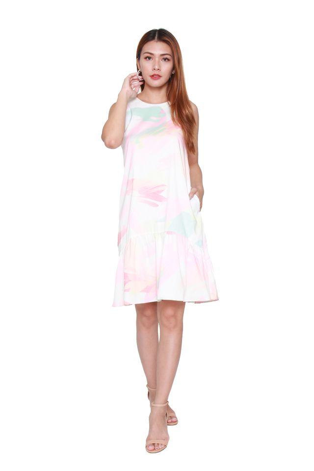 Julie Sack Mini Dress in Pink