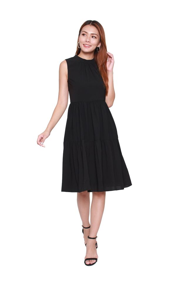 Laural Sleeveless Tiered Dress in Black
