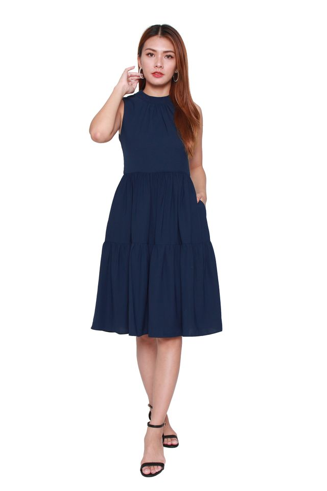 Laural Sleeveless Tiered Dress in Navy Blue