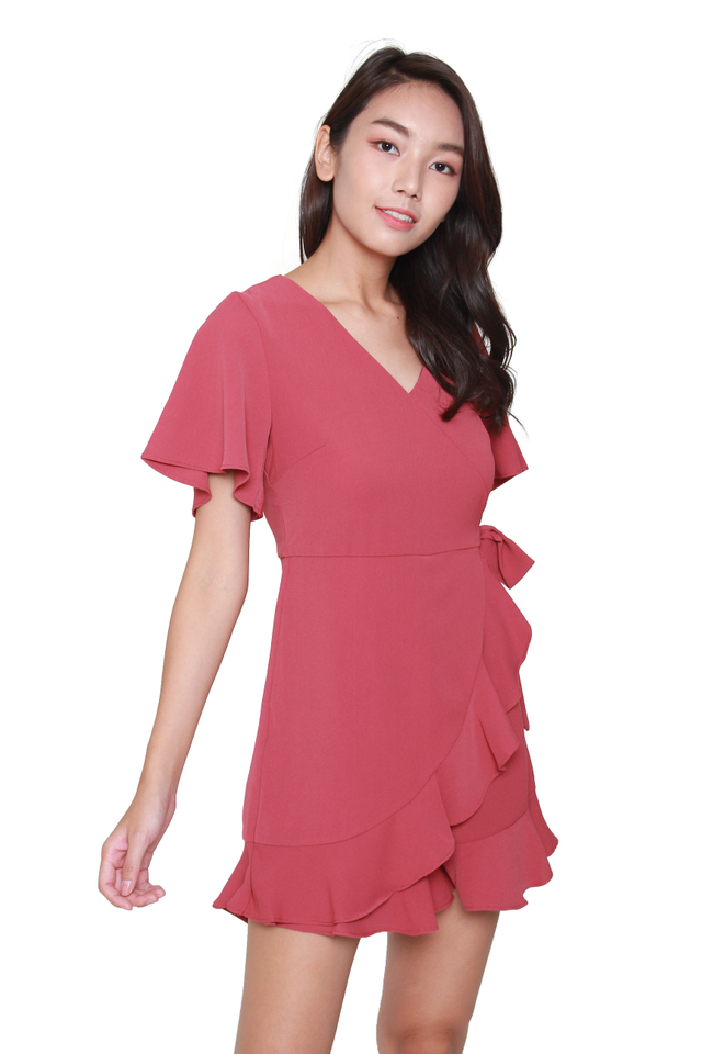 Karla Ruffled Romper in Red