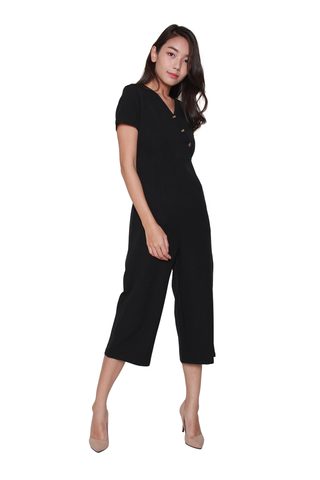 Dania Button-Front Jumpsuit in Black