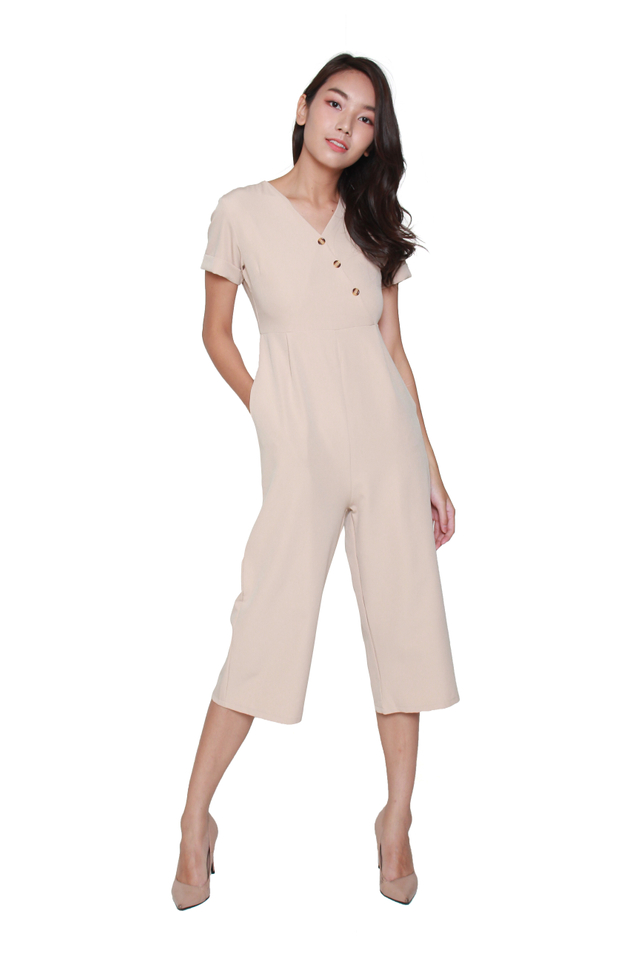Dania Button-Front Jumpsuit in Beige