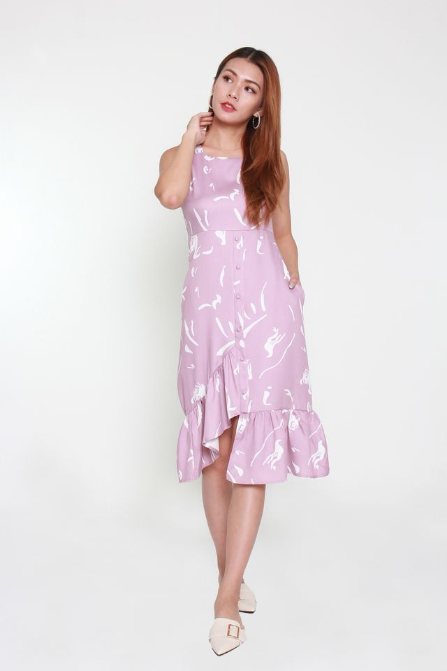 Carlotte Asymmetrical Ruffle Dress in Pink