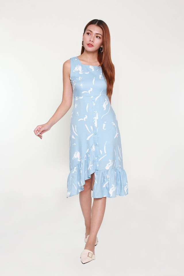 Carlotte Asymmetrical Ruffle Dress in Baby Blue