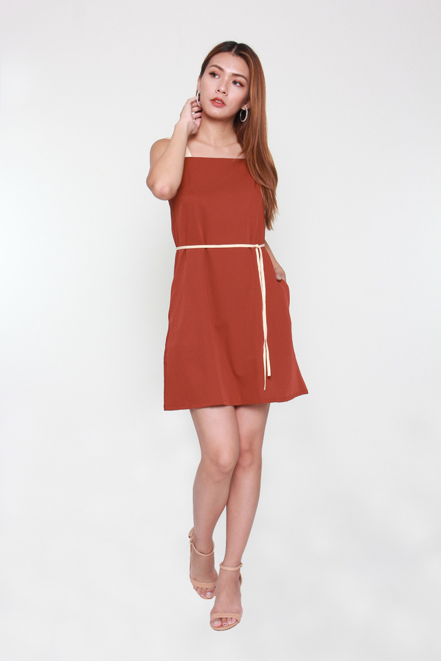 Bertina Colorblock Mini Dress in Crimson