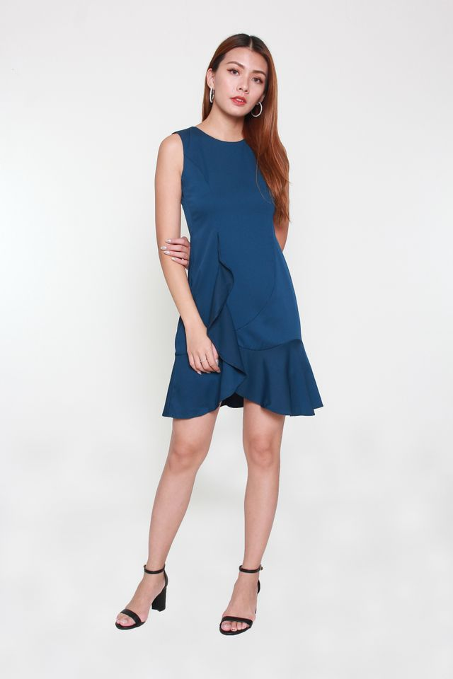 Kailyn Cascade Mini Dress in Blue