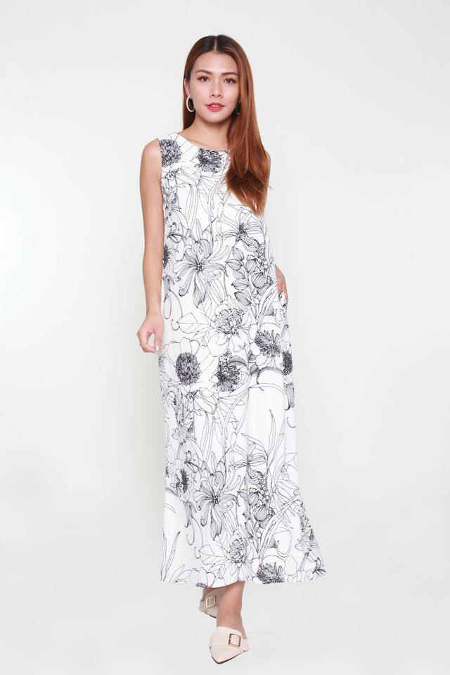 Variel Maxi Floral Dress in White