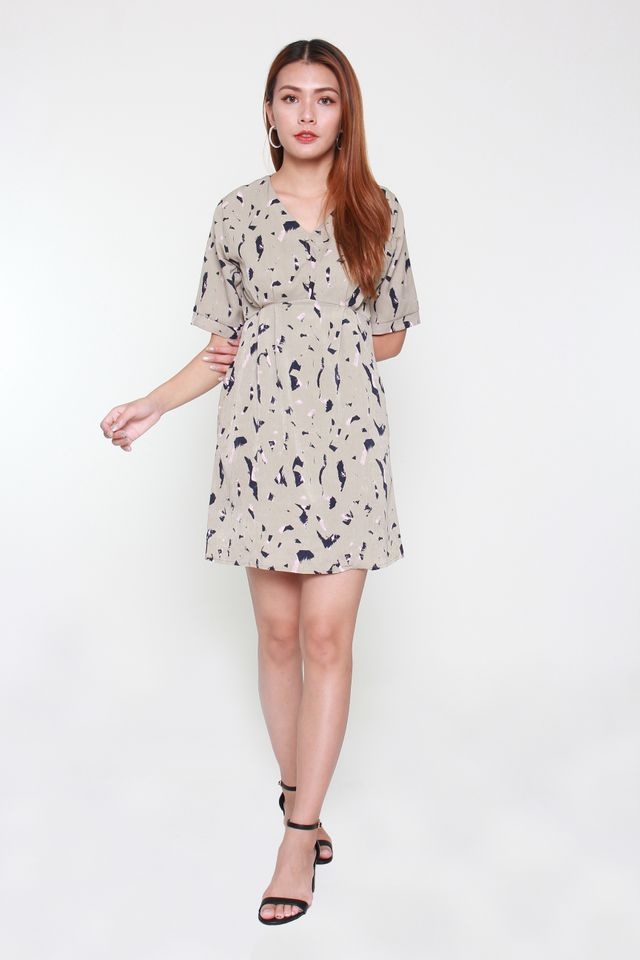 Yvette Short-Sleeve Babydoll Dress in Ash