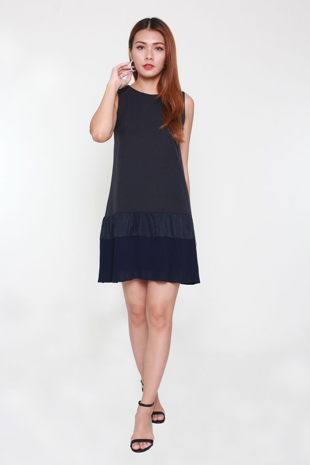 Magda Sleeveless Trapeze Dress in Navy Blue