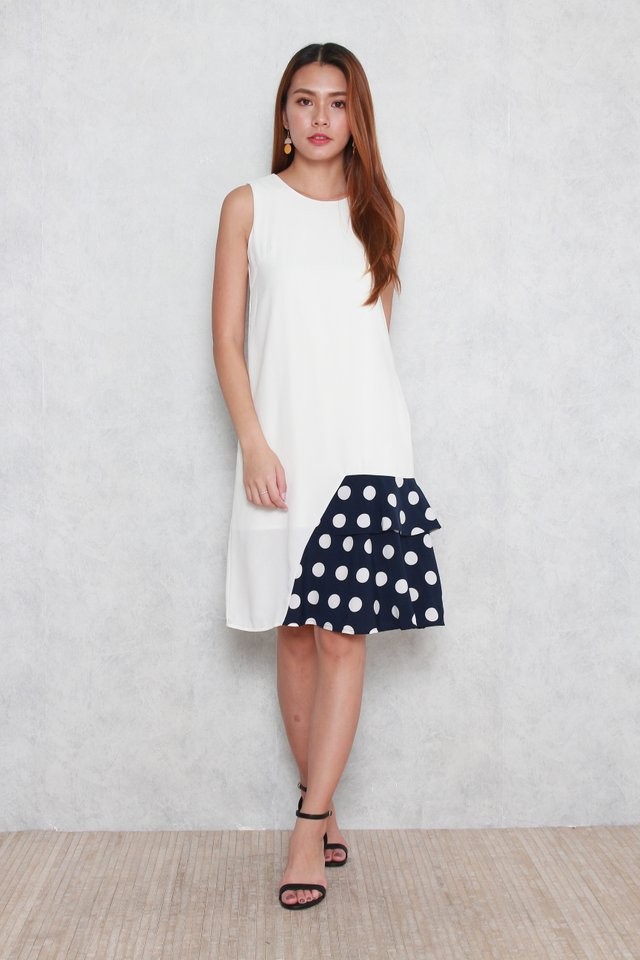 Willa Colorblock Layered Polka Dots Dress in White