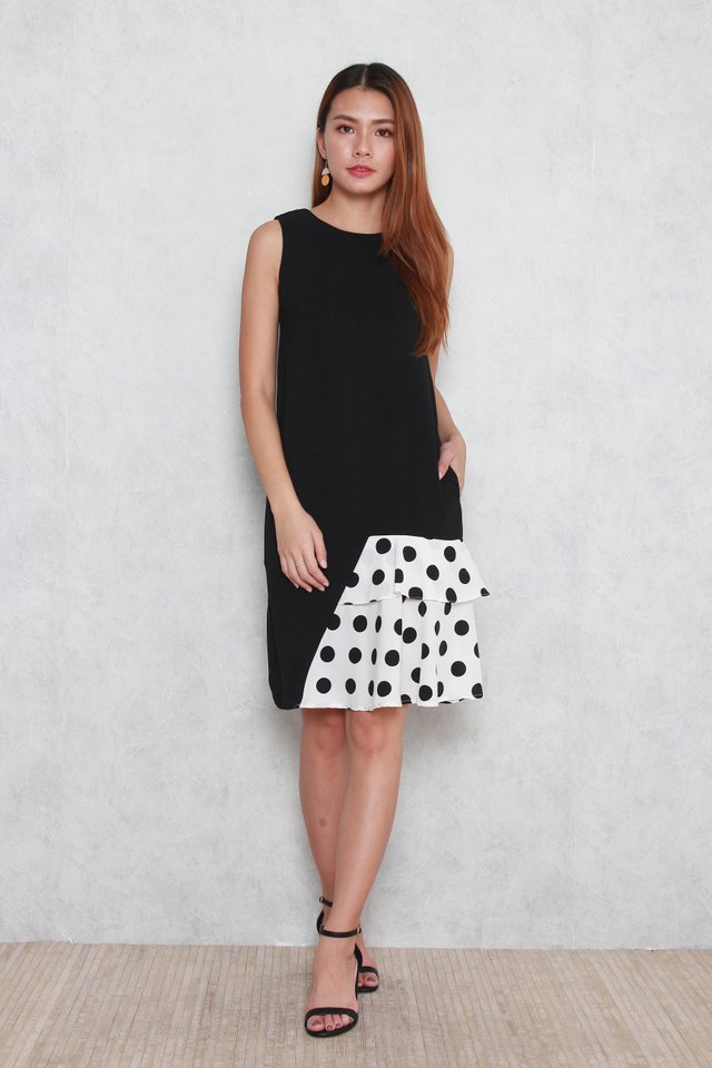 Willa Colorblock Layered Polka Dots Dress in Black